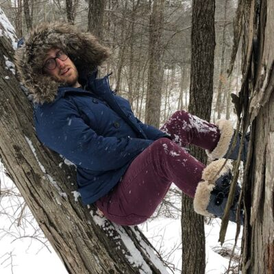 Being a goofball on a snow hike in New Paltz, NY