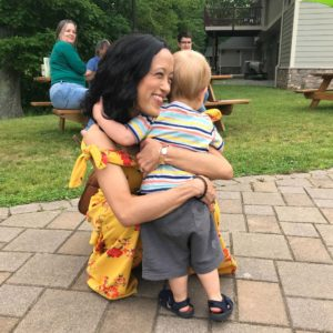 Tiana greets her friend Katie's son, Liam