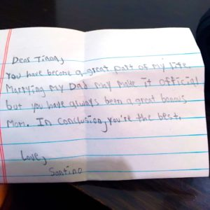 A note that Santino wrote to Tiana in 2019
