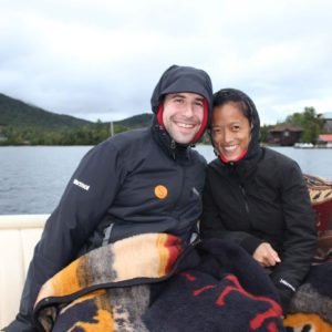 Trying to stay warm on a boat ride in the Adirondacks in upstate NY