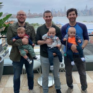 Brooklyn brunch with Andrew's childhood friends (Ben and his son Ethan and Jesse and his twin boys Oliver and Charlie)