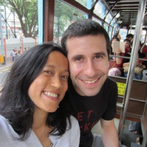 Riding the streetcar in Hong Kong on a trip to visit Tiana's cousin