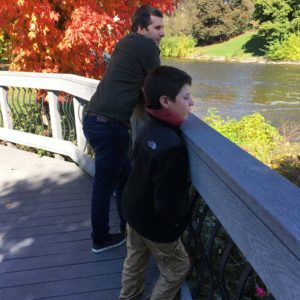 A quiet moment on the river with Andrew's son Santino in Michigan