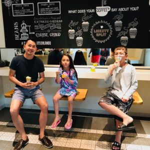 Dirk taking his niece and nephew for ice cream after a day at the pool