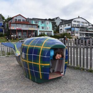 Hamming it up while on a road trip to Nova Scotia, Canada