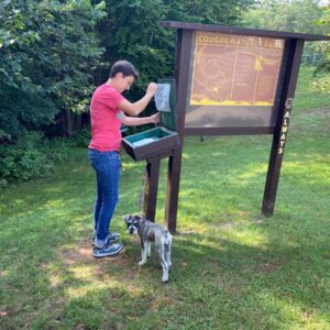 Signing in for Nova's first hike near Chestertown, NY