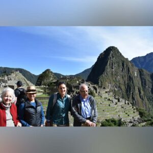 Learning about the ancient Mayans as we walk through the ruins of Machu Picchu with Tina's parents Bernie and Bonisa