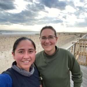 Recovering after a long run on the boardwalk in Long Beach, NY