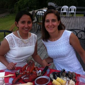 Finally sitting down to enjoy our wedding day feast in South Hero, Vermont