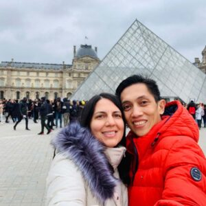 Visit to the Louvre Museum in Paris on a chilly winter day