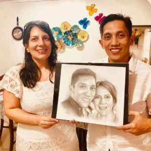 Love the charcoal portrait gift from our sister-in-law in Cebu, Philippines