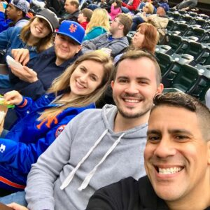 Enjoying the Mets game with friends