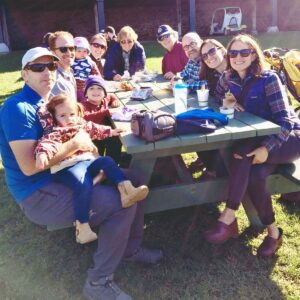 Shelburne Farms is nearby and is a kid's dream come true. Here, you can milk a cow, pet a rabbit, and take a hayride. This is Elizabeth's family visiting Vermont