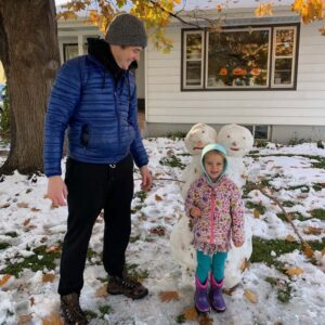 Two-headed snowman in our front yard to celebrate Halloween