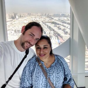 At the top of the Dubai Frame Building in the United Arab Emirates