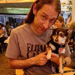 Outdoor summer dining with our dog Hiro in Manhattan