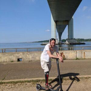 Traveling under the Verrazzano-Narrows Bridge, during our scooter date, Brooklyn, NY