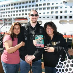 Disembarking at our first port in Ketchikan, Alaska with Jason's mother