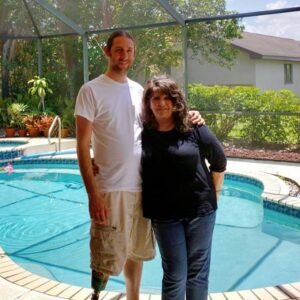 Visiting Jason's Mom in Florida. Our dog Hiro loves being by the pool!