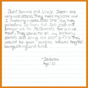Letter from our Goddaughter Isabella – Age 10, from New York