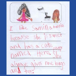 Letter from our close friends' child Elina – Age 6, from Virginia