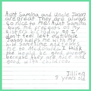 Letter from our Goddaughter's sister Jillian – Age 8, from New York