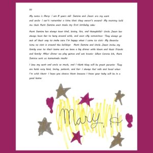 Letter from our close friends' child Mary – Age 8, from Pennsylvania