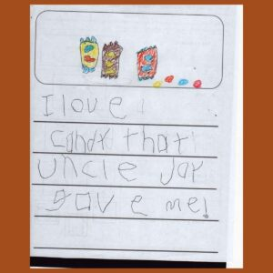 Letter from our close friend's child Orion – Age 5, from Virginia