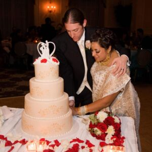 Cutting our wedding cake in Pearl River, NY