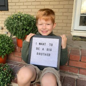 Ben can't wait to be a big brother! You can help him by sharing our adoption profile online