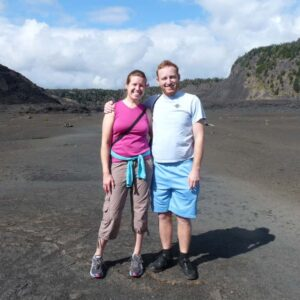 The two of us hiking in Volcanoes National Park in Hawaii. We're walking on a volcano!