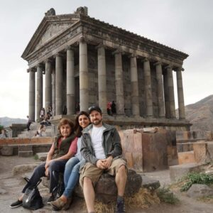 Us exploring ancient ruins with Juliet's mom Arax on vacation in Armenia