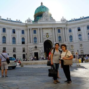 Juliet and her mom Arax strolling the streets of Vienna
