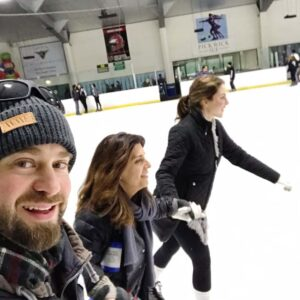 Gliding on ice with our niece Lara in Burbank, CA