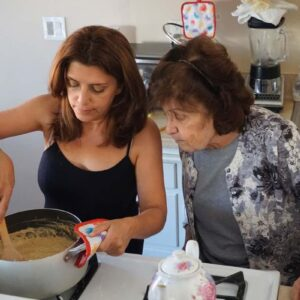 Juliet learning to make delicious Halva from her mom Arax