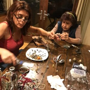 Juliet and her mom Arax making Christmas tree ornaments