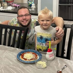 Joshua with his best friend Tanya's son Dylan making homemade pizza at our home in Plattsburgh, New York!