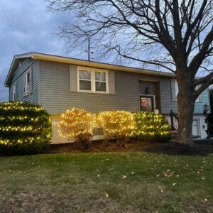 Our home decorated with Christmas lights just before the first snow fall, in Northern New York