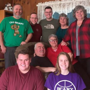 Us celebrating Christmas at Parker's Nana and Poppa's house in Redford, New York with his father Ron, Aunt Michele, mother Kim, Poppa Willy, Nana Joyce, brother Pacey, and sister Payton