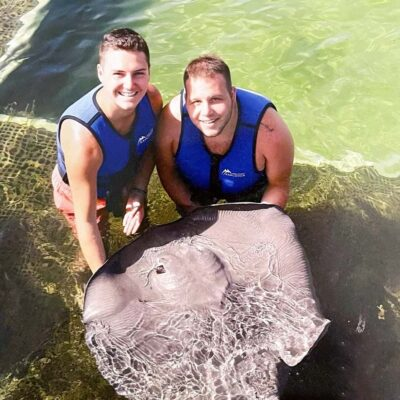 The both of us holding a stingray while on vacation in the Dominican Republic!