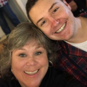 Parker and his mother Kim, having dinner at our home in Northern New York