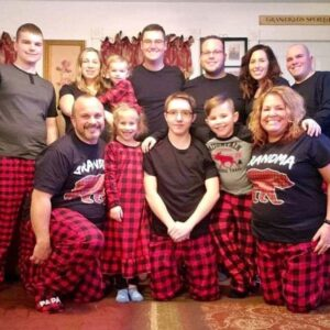 Us with Joshua's family at his mother's house for Christmas! We celebrated with Joshua's brother Jesse, sister-in-law Alyssa, niece Kenslee, sister Karissa, brother-in-law Adam, step-father Todd, niece Delaney, cousin Kaiden, nephew Dawson, and mother Julie in Rouses Point, NY