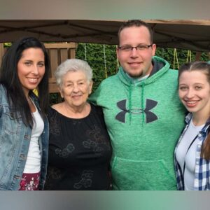 Joshua with his sister Karissa, grandmother Helen, and sister Haleigh at a family party in Champlain, NY!