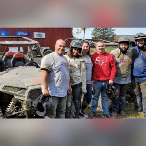 The two of us with brother-in-law Adam, Joshua's sister Karissa, sister-in-law Alyssa, and Joshua's brother Jesse after ATV mudding in the Adirondacks!