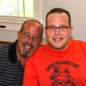 Joshua with his dad Kevin at a family get together in Champlain, New York!
