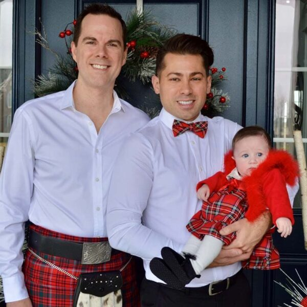 Our first Christmas photo with each of us wearing the Grant tartan!