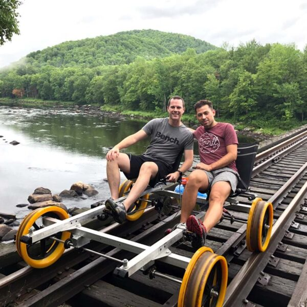 Railroad cycling in the Adirondacks in upstate New York. The scenery was beautiful
