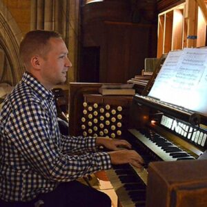 Playing the organ at Blessed Sacrament Church for Sunday Mass in Manhattan