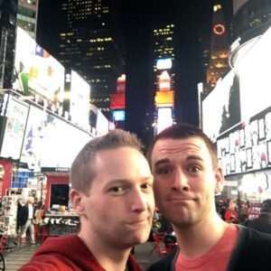Heading through Times Square to see a Broadway show