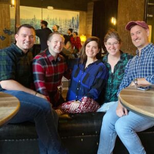 Rob's (plaid themed) birthday dinner with our friends Gina, Megan, and Keith